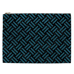 Woven2 Black Marble & Teal Leather (r) Cosmetic Bag (xxl)