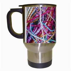 Funny Colorful Yarn Pattern Travel Mugs (white) by yoursparklingshop