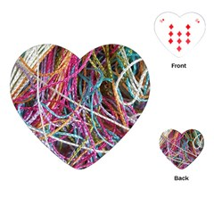 Funny Colorful Yarn Pattern Playing Cards (heart)  by yoursparklingshop