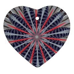 Red White Blue Kaleidoscopic Star Flower Design Ornament (heart) by yoursparklingshop