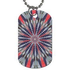 Red White Blue Kaleidoscopic Star Flower Design Dog Tag (one Side) by yoursparklingshop