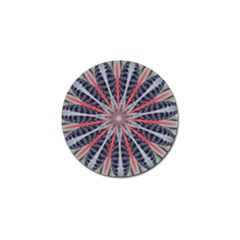 Red White Blue Kaleidoscopic Star Flower Design Golf Ball Marker (10 Pack) by yoursparklingshop