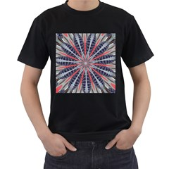 Red White Blue Kaleidoscopic Star Flower Design Men s T-shirt (black) (two Sided) by yoursparklingshop