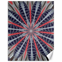Red White Blue Kaleidoscopic Star Flower Design Canvas 18  X 24   by yoursparklingshop