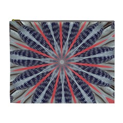 Red White Blue Kaleidoscopic Star Flower Design Cosmetic Bag (xl) by yoursparklingshop