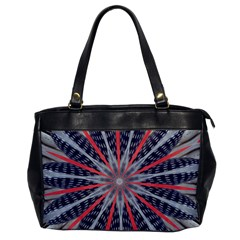 Red White Blue Kaleidoscopic Star Flower Design Office Handbags by yoursparklingshop