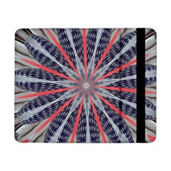 Red White Blue Kaleidoscopic Star Flower Design Samsung Galaxy Tab Pro 8 4  Flip Case by yoursparklingshop
