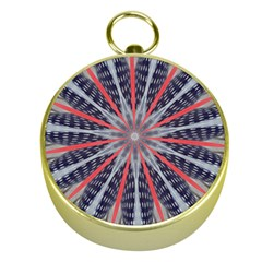 Red White Blue Kaleidoscopic Star Flower Design Gold Compasses by yoursparklingshop