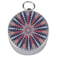 Red White Blue Kaleidoscopic Star Flower Design Silver Compasses by yoursparklingshop