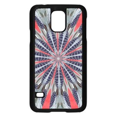 Red White Blue Kaleidoscopic Star Flower Design Samsung Galaxy S5 Case (black) by yoursparklingshop