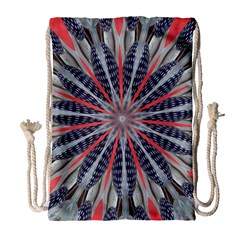 Red White Blue Kaleidoscopic Star Flower Design Drawstring Bag (large) by yoursparklingshop