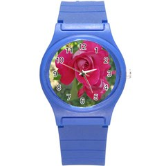 Romantic Red Rose Photography Round Plastic Sport Watch (s) by yoursparklingshop