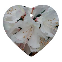 Floral Design White Flowers Photography Ornament (heart) by yoursparklingshop
