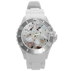 Floral Design White Flowers Photography Round Plastic Sport Watch (l) by yoursparklingshop