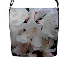 Floral Design White Flowers Photography Flap Messenger Bag (l)  by yoursparklingshop