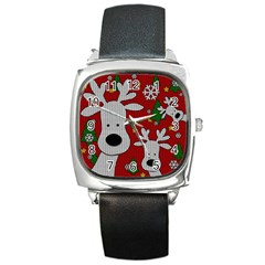 Cute Reindeer  Square Metal Watch by Valentinaart