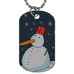 Snowman Dog Tag (one Side) by Valentinaart