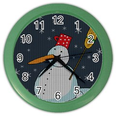 Snowman Color Wall Clocks by Valentinaart