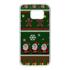 Ugly Christmas Sweater Samsung Galaxy S7 White Seamless Case by Valentinaart