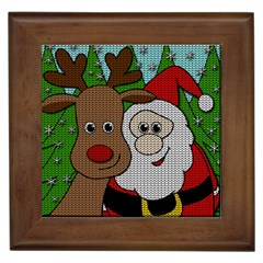 Santa And Rudolph Selfie  Framed Tiles by Valentinaart