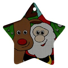 Santa And Rudolph Selfie  Star Ornament (two Sides) by Valentinaart