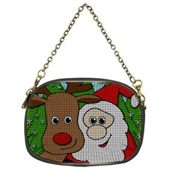 Santa And Rudolph Selfie  Chain Purses (one Side)  by Valentinaart