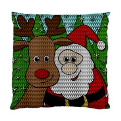 Santa And Rudolph Selfie  Standard Cushion Case (two Sides) by Valentinaart