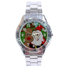 Santa And Rudolph Selfie  Stainless Steel Analogue Watch by Valentinaart