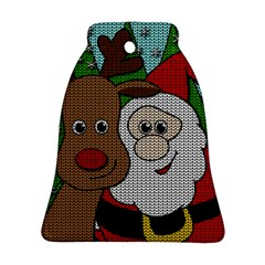 Santa And Rudolph Selfie  Ornament (bell)