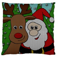Santa And Rudolph Selfie  Large Cushion Case (two Sides) by Valentinaart