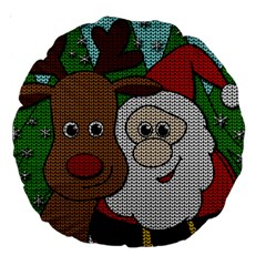 Santa And Rudolph Selfie  Large 18  Premium Round Cushions by Valentinaart