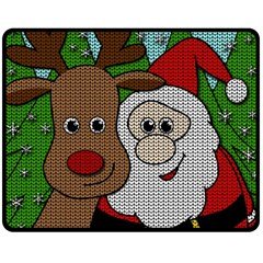 Santa And Rudolph Selfie  Double Sided Fleece Blanket (medium)