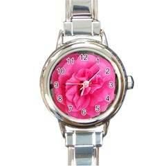 Pink Flower Japanese Tea Rose Floral Design Round Italian Charm Watch by yoursparklingshop