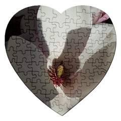 Magnolia Floral Flower Pink White Jigsaw Puzzle (heart) by yoursparklingshop