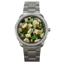 Cheese And Peppers Green Yellow Funny Design Sport Metal Watch by yoursparklingshop
