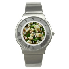 Cheese And Peppers Green Yellow Funny Design Stainless Steel Watch by yoursparklingshop