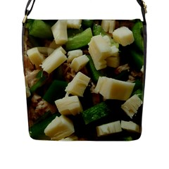 Cheese And Peppers Green Yellow Funny Design Flap Messenger Bag (l)  by yoursparklingshop