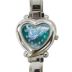 Awesome Wave Ocean Photography Heart Italian Charm Watch by yoursparklingshop