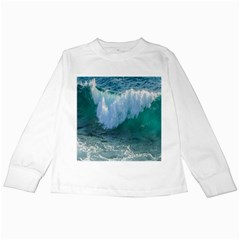 Awesome Wave Ocean Photography Kids Long Sleeve T Shirts by yoursparklingshop