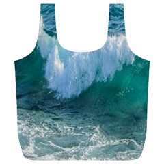 Awesome Wave Ocean Photography Full Print Recycle Bags (l)  by yoursparklingshop