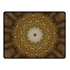 Elegant Festive Golden Brown Kaleidoscope Flower Design Fleece Blanket (small) by yoursparklingshop