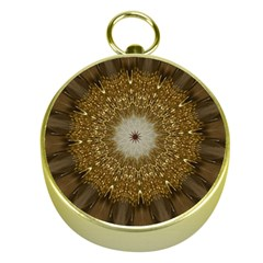 Elegant Festive Golden Brown Kaleidoscope Flower Design Gold Compasses by yoursparklingshop
