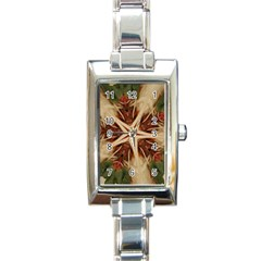 Spaghetti Italian Pasta Kaleidoscope Funny Food Star Design Rectangle Italian Charm Watch by yoursparklingshop
