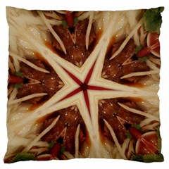 Spaghetti Italian Pasta Kaleidoscope Funny Food Star Design Large Flano Cushion Case (one Side) by yoursparklingshop