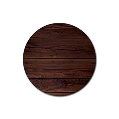 Rustic Dark Brown Wood Wooden Fence Background Elegant Rubber Coaster (round)  by yoursparklingshop