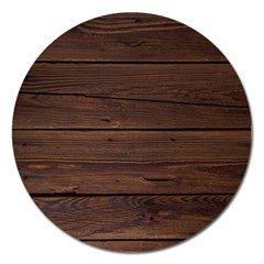 Rustic Dark Brown Wood Wooden Fence Background Elegant Magnet 5  (round) by yoursparklingshop