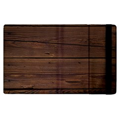 Rustic Dark Brown Wood Wooden Fence Background Elegant Apple Ipad 2 Flip Case by yoursparklingshop