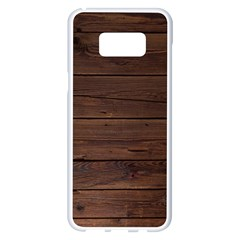 Rustic Dark Brown Wood Wooden Fence Background Elegant Samsung Galaxy S8 Plus White Seamless Case by yoursparklingshop