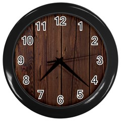 Rustic Dark Brown Wood Wooden Fence Background Elegant Natural Country Style Wall Clocks (black) by yoursparklingshop