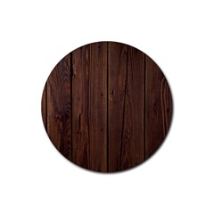 Rustic Dark Brown Wood Wooden Fence Background Elegant Natural Country Style Rubber Coaster (round)  by yoursparklingshop